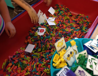 And on the second day of kindergarten . . . there was math stations galore!