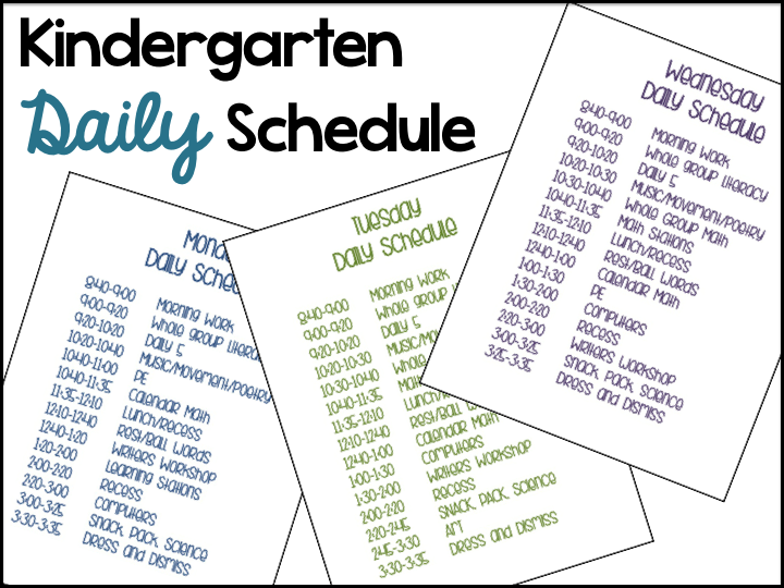A differentiated kindergarten 39 s daily schedule for Kindergarten timetable template