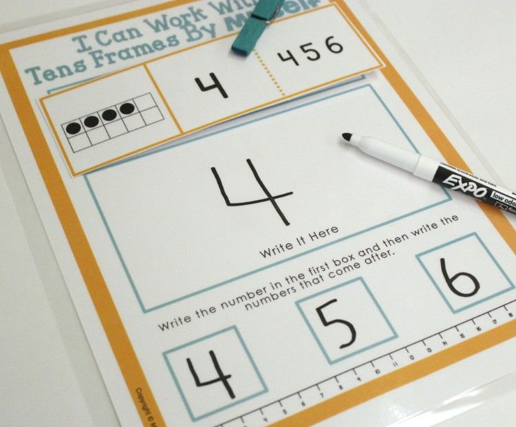 Independent and Self-Correcting Number Work with Differentiated Tens Frame Cards and Mats.