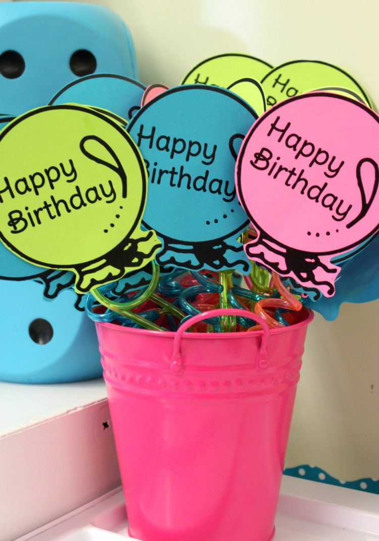 Classroom Birthday Balloon Straws