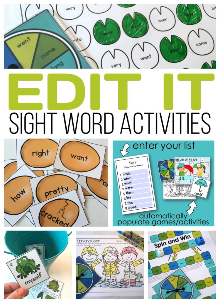Editable Sight Word Activities for Literacy Centers or Daily 5 activities.