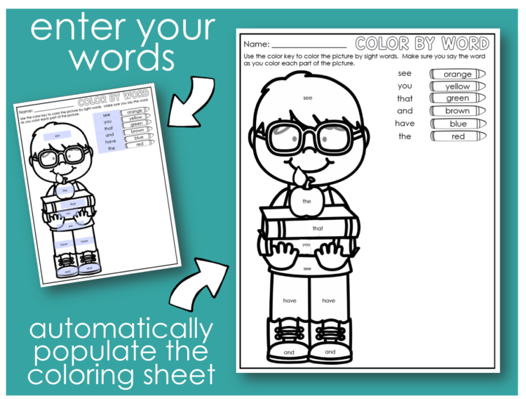Editable Color By Sight Word Freebie - Differentiated Kindergarten