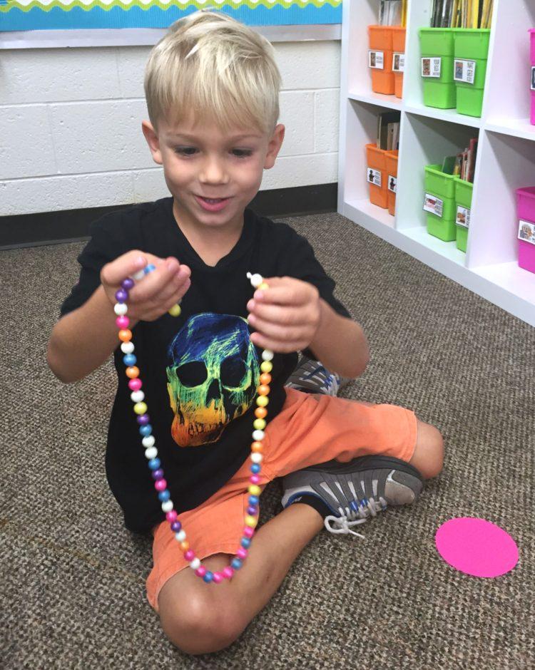 Fine Motor Work Stations In Action in Kindergarten-Pop Beads