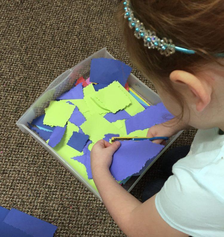 Fine Motor Work Stations In Action in Kindergarten-Fancy Scissors