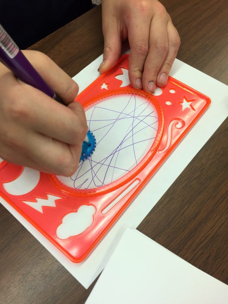 Fine Motor Work Stations In Action in Kindergarten-Spirograph
