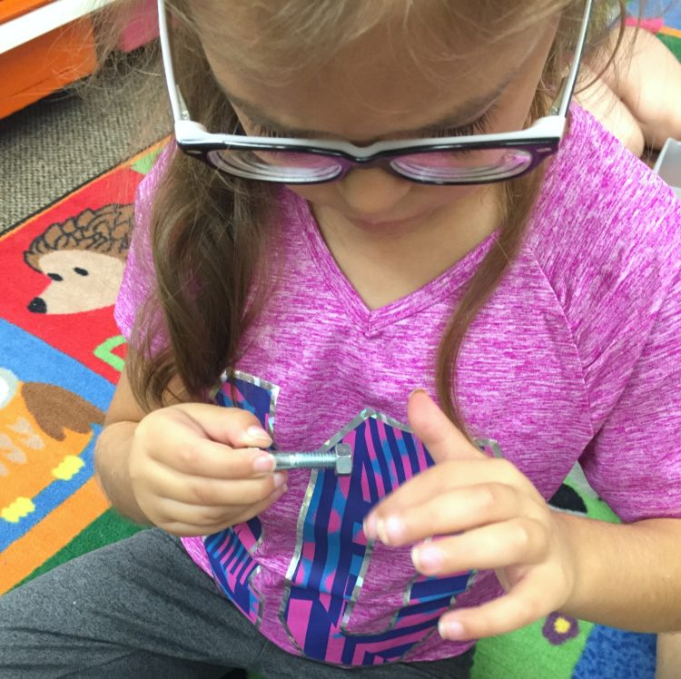 Fine Motor Work Stations In Action in Kindergarten-Nuts and Bolts