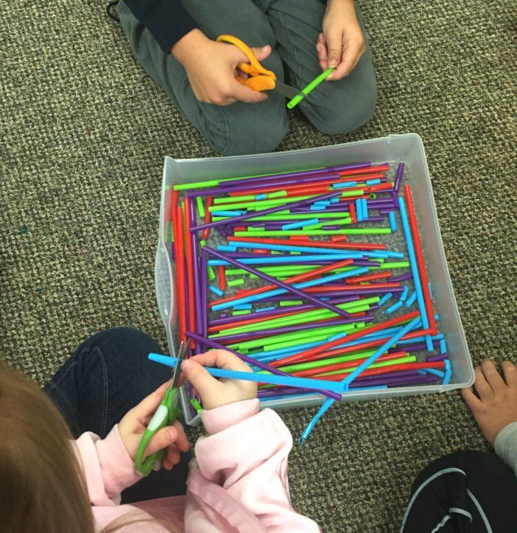 Fine Motor Work Stations In Action in Kindergarten-Straws and Scissors