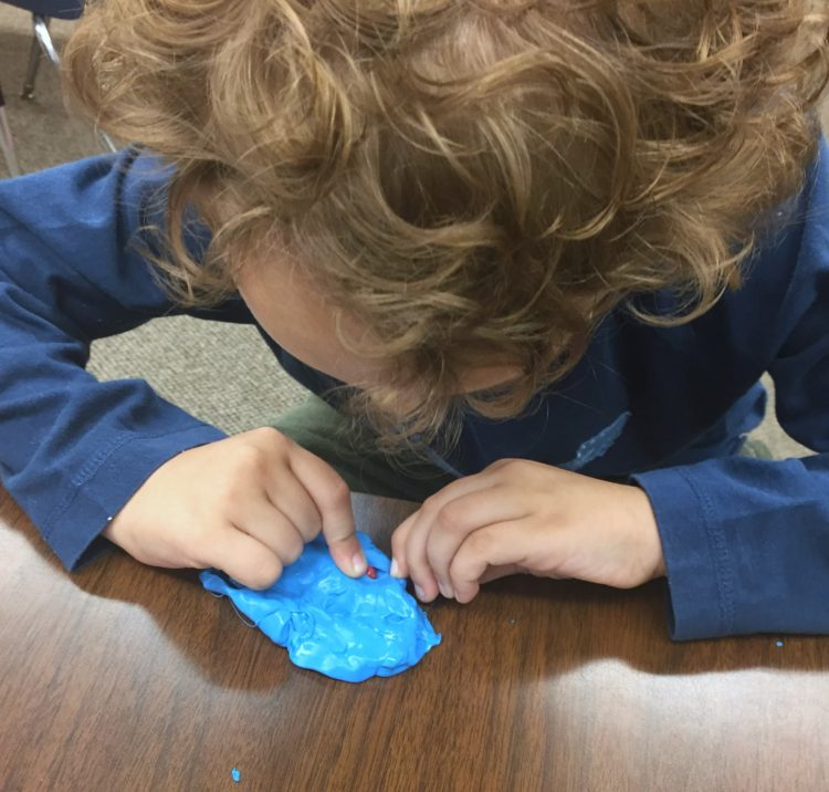 Fine Motor Work Stations In Action in Kindergarten-Therapy Putty