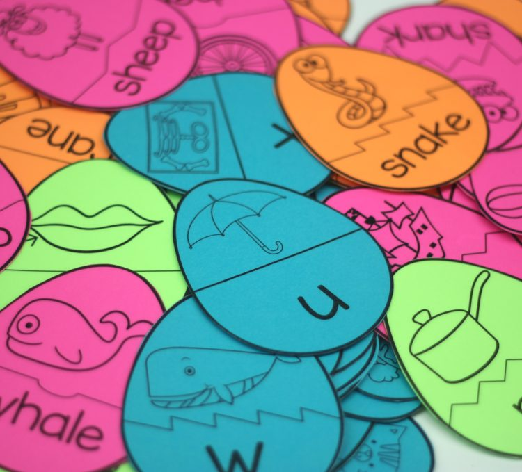 Free Egg Puzzle Word Work Activity using Astrobrights Cardstock