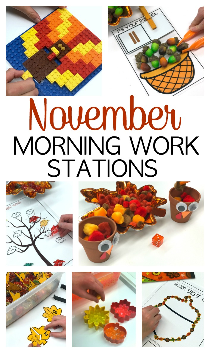 November Morning Work Stations - Hands On and Engaging