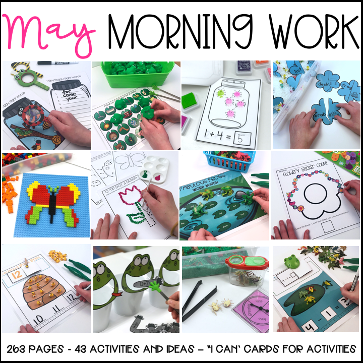 Kindergarten Morning Work Stations and Morning Work Tubs