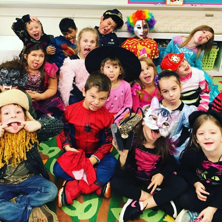 kindergarten kids in Halloween costumes