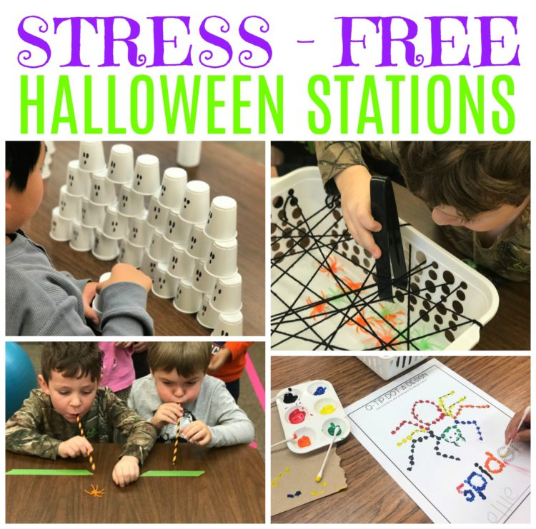various Halloween celebration stations for kindergarten