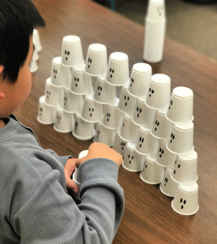 Ghost stacking cup activity