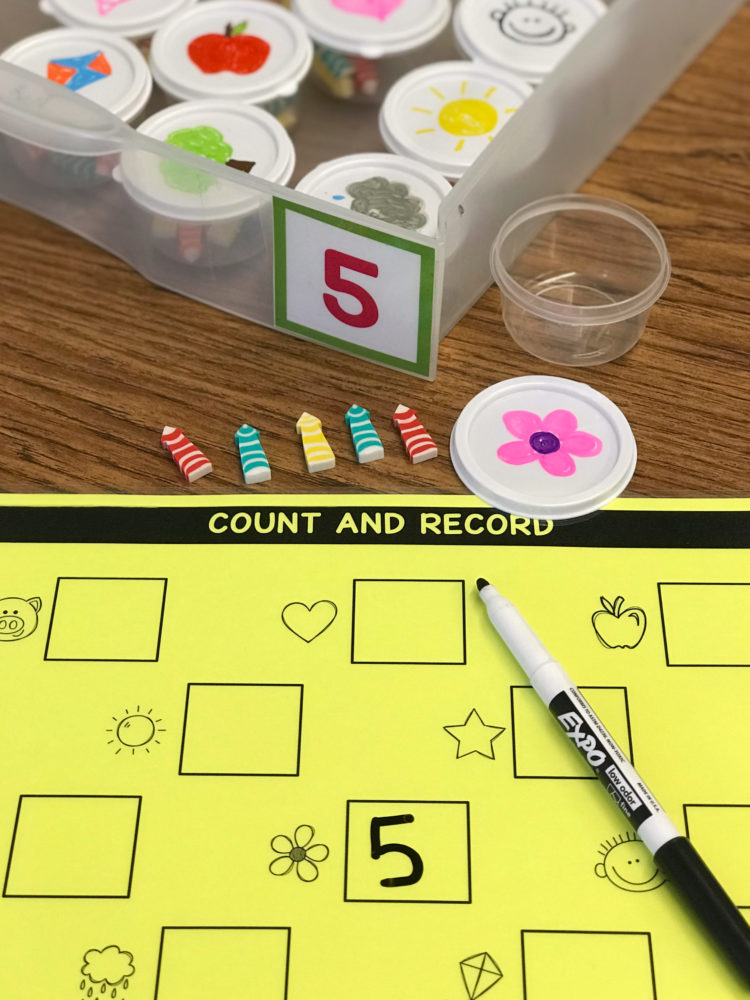 counting cups for kindergarten math