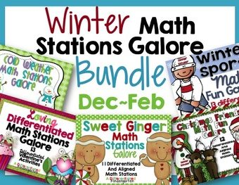 Winter Math Stations Galore-Five Differentiated and Aligned Sets