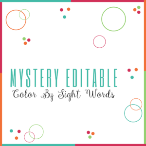 Mystery Editable Color By Sight Words