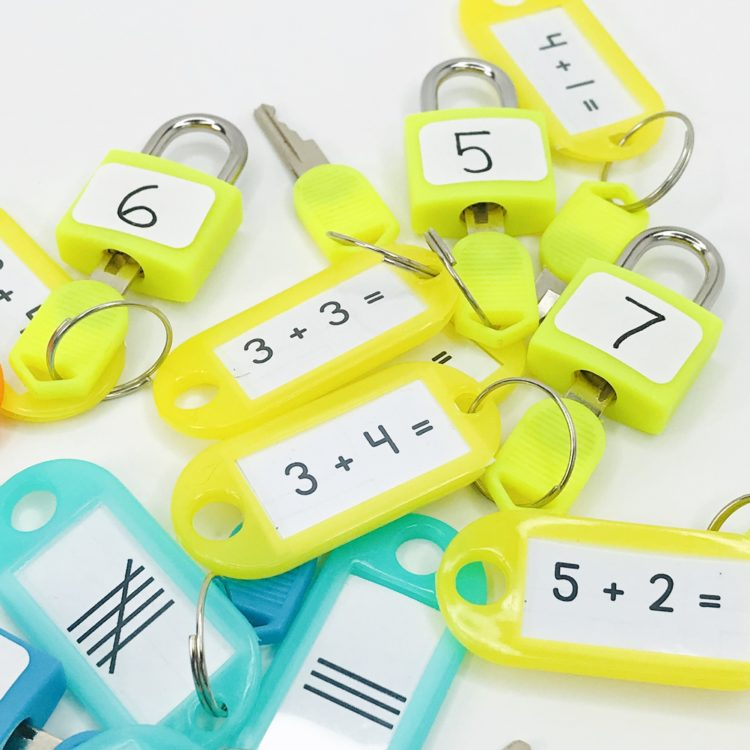 yellow locks and keys with math skills