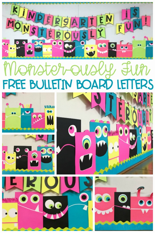 """Whether you use it for Halloween or just some Back To School Fun, this Monster-ously easy bulletin board idea is a great way for teachers to greet pre-k, kindergarten or 1st grade students. This post will include DIY instructions for creating these cute, bright-colored monsters and supply you with a free downloadable template for the bulletin board letters. There is even a generic, """"School is . . ."""" version. Brighten up your wall, your hall or you classroom!"""
