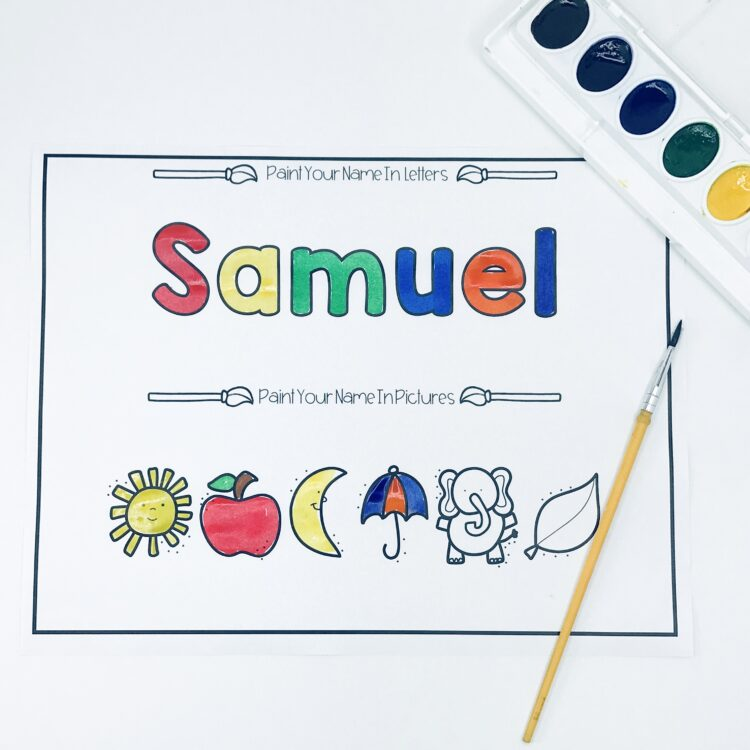 Painting names in letters and pictures with watercolor paints.