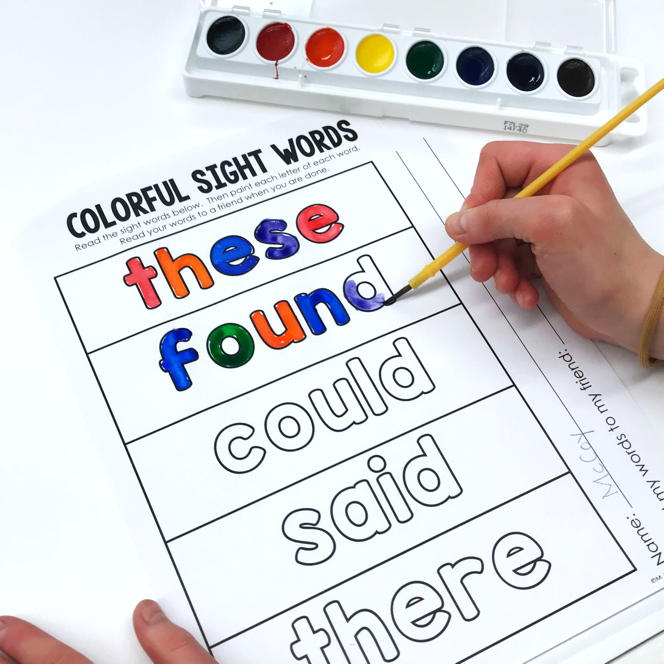 Sight word painting printable.