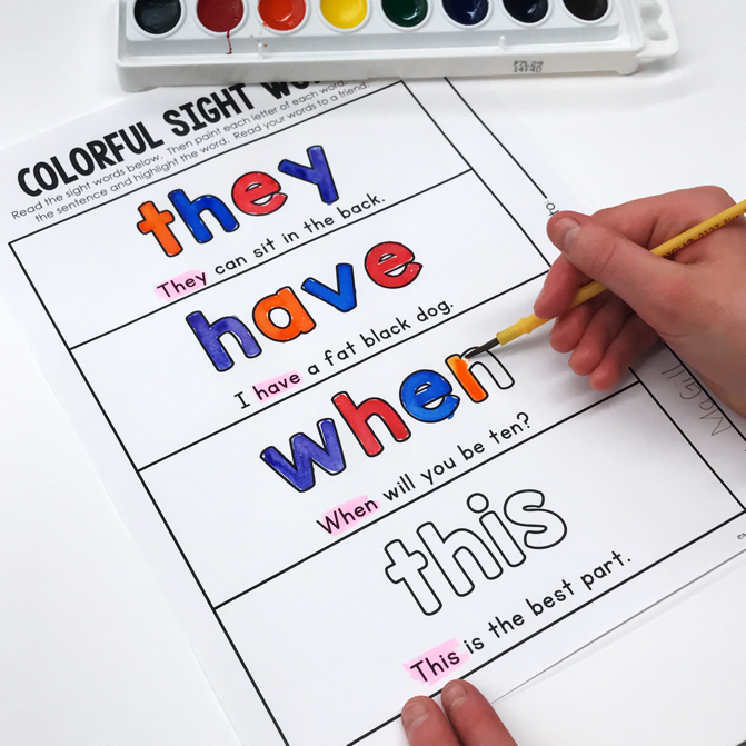 Printable sight word sheet for painting.