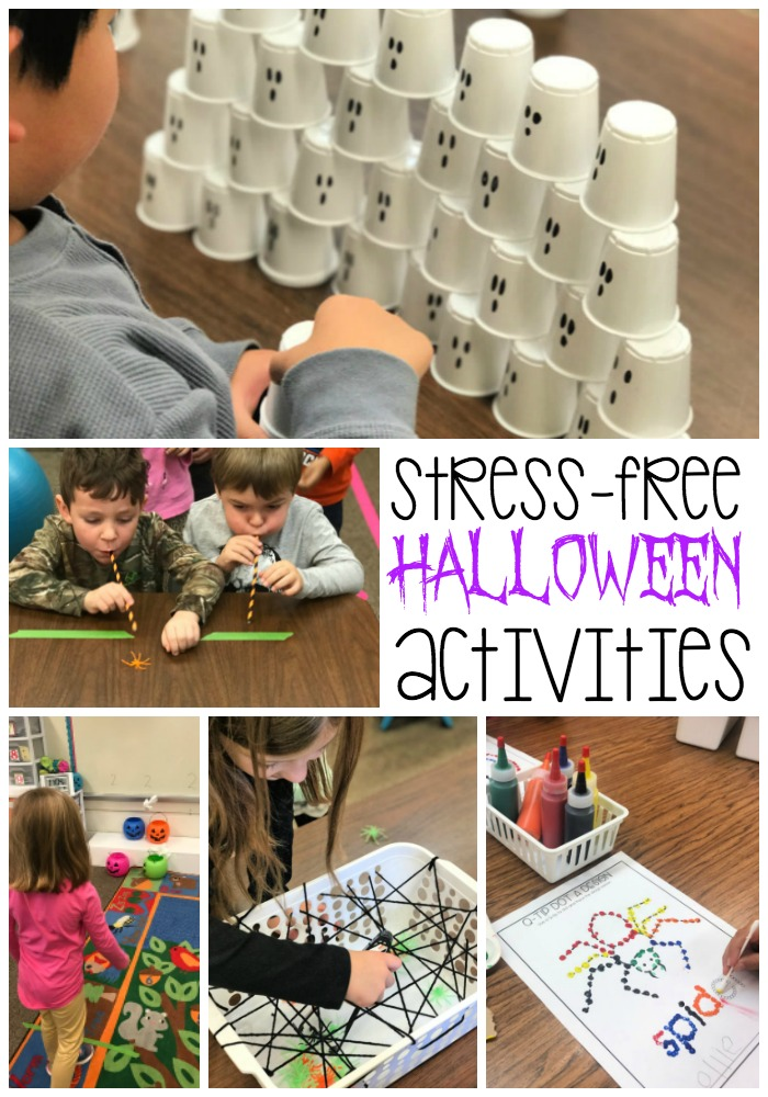 This blog post includes stress-free activities which are perfect for a party at home or in the classroom. Games and ideas are fun and engaging with low prep for teachers or parents. Perfect for kids in PreK, kindergarten or first grade, these ideas include simple crafts, movement games, stem challenges and tons of fun. The perfect plan for a successful Halloween party.