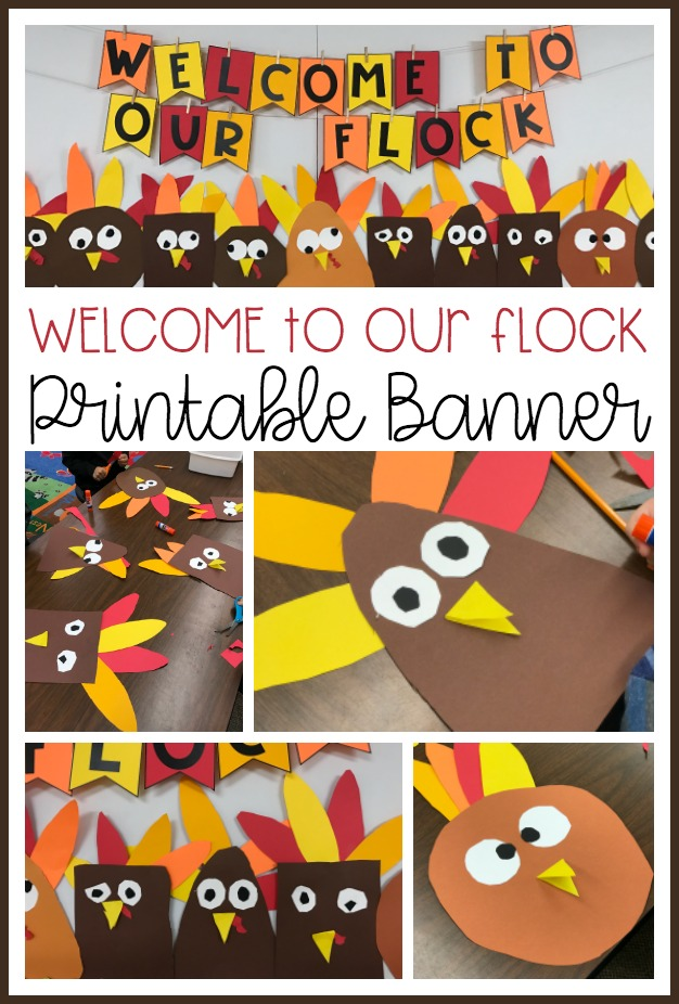 Enjoy this free printable banner to use when creating your own Shapely Turkey Bulletin Board. It's super simple and so cute.