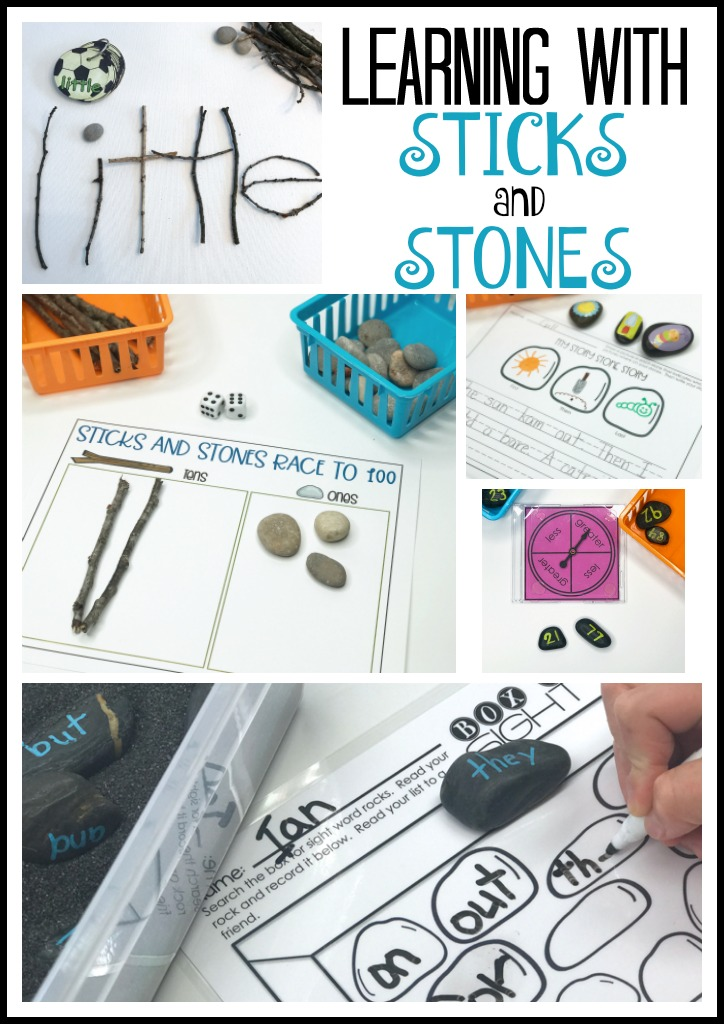 These at-home learning activities are perfect for young learners and you can find all the materials right in your own backyard.  Kindergarten students will find these math and ELA games, activities and ideas engaging. and fun.  They are hands-on while still addressing important essential skills.  The free printables will give you everything you need to learn with sticks and stones.