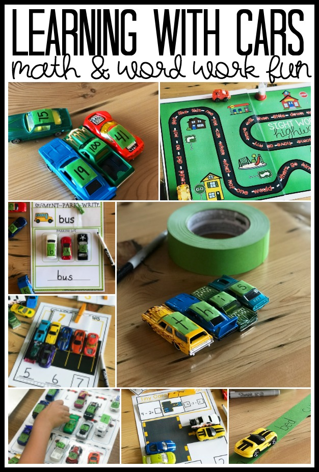 Whether your students are in the classroom or at home taking part in distance learning, cars can be a great engagement and learning tool.  Kindergarteners will love playing and working with numbers, letters, math concepts and reading strategies while using toy vehicles.  This post is full of activities, games and teaching ideas for parents and teachers alike.  Don't miss out on the great free resources, too.  These are inexpensive ideas to help with distance learning.