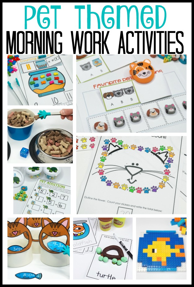 Make morning work fun with these pet themed station activities.  You'll find 33 activities that will engage your kindergarten students in meaningful and fun math and literacy activities.  So much hands on, developmentally goodness in one packet.  Grab some bins and get started!